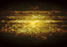 Vector yellow tech design with abstract glossy arrows Stock Photography