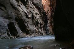 Dark Zion Narrows Royalty Free Stock Photos