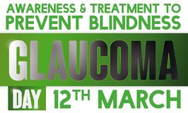 Darkening Ribbon Promoting Prevention of Blindness in World Glaucoma Day, Vector Illustration. Commemorative banner promoting  awareness and treatment against Stock Photography