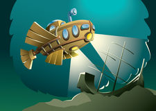 In the darkest depths. Weird wooden submarine or bathyscaphe exploring bottom of the sea with sunken ship, vector illustration Royalty Free Stock Photography