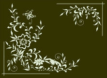 Darkgreen background with white flowers Royalty Free Stock Photography