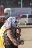 Darkly dressed person on Prague Pride 2013 Stock Photo