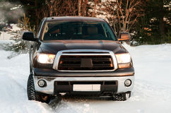 Darkly Gray sport utility vehicle in winter forest Stock Images