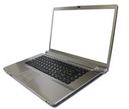 Darkly silver  computer. Large screen of white color, in the opened kind Royalty Free Stock Photography