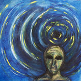 In the darkness. Painting of person in the darkness stock illustration