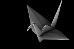 Darkness. An origami bird on a black background stock images