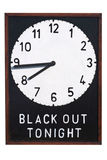 Darkness. A Second World War sign giving details of the time of the Black Out during which time no light should be shown outside of buildings stock images