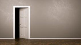 Darkness Behind the Door. Darkness Behind the Half-Closed Door in the Room with Copyspace 3D Illustration stock illustration