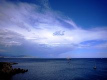 Darkness is Coming. Coming storm on the sea. Juan-les-Pins, France Stock Image