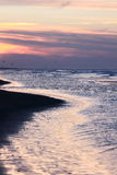 Darkness falls over North Sea, Ameland, Holland stock images