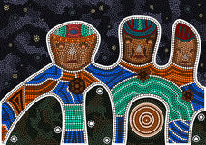 Darkness and friendship. An illustration based on aboriginal style of dot painting depicting darkness and friendship/ black background royalty free illustration
