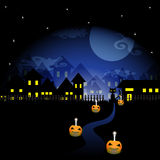 Darkness of Halloween night background with a black cat and pumpkin vector Royalty Free Stock Photography