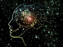 The Darkness of Machine Consciousness. CPU Mind series. Background design of human face silhouette and technology symbols on the subject of computer science Royalty Free Stock Photo