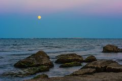 Before darkness, moonrise Royalty Free Stock Photography