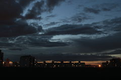 The darkness of the night plunged to Moscow, low clouds. Stock Photography