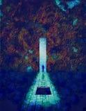 From darkness to light. Man before great door. From darkness to light. Oil on canvas stock illustration