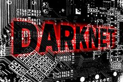 Darknet with circuit board concept background Stock Images
