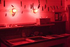 Darkroom. A photo of a darkroom Royalty Free Stock Photography