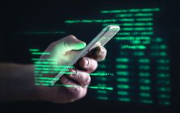 Free Darkweb, Darknet And Hacking Concept. Hacker With Cellphone. Man Using Dark Web With Smartphone. Mobile Phone Fraud, Online Scam. Stock Photos - 158418933