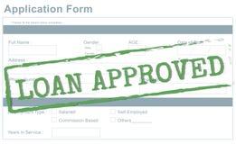 Darlehen genehmigtes geltendes Bank-Borgen-Konzept vektor abbildung