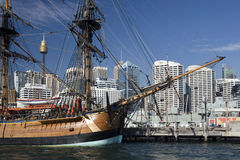 Darling Harbor - Sydney - Australia. The Sailing Ship 'Endeavor' moored in Darling Harbor in Sydney, Australia Stock Photo