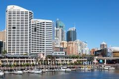Darling Harbour adiacente al centro urbano di Sydney Fotografia Stock Libera da Diritti