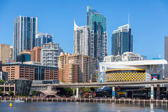 Darling Harbour adiacente al centro urbano di Sydney Immagini Stock