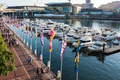 Darling Harbour, de werf van de Kokkelbaai en Pyrmont op Sydney Harbour Royalty-vrije Stock Foto