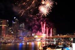 Darling Harbour Fireworks. Fireworks at Darling Harbour Sydney, Australia Stock Photos