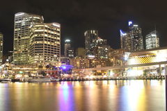 Darling Harbour cityscape at night  Royalty Free Stock Image