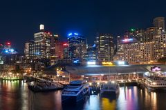 Darling Harbour night scene Royalty Free Stock Photo