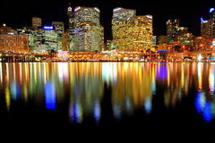 Darling Harbour at Night in Sydney Stock Photography