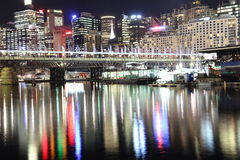 Sydney skyline water reflections at night. Sydney's district Darling Harbour at the Cockle Bay lighted at night. Pulsating Australian city Stock Image