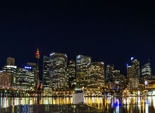 Darling harbour skyline in central sydney australia at night Royalty Free Stock Image