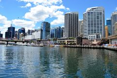 Darling Harbour Skyline in Sydney Australia royalty free stock photos