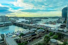 Darling Harbour Sydney Australia en la puesta del sol Imagen de archivo libre de regalías