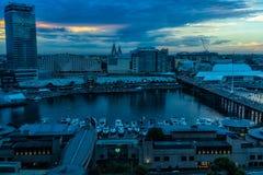 Darling Harbour Sydney Australia en la puesta del sol Imágenes de archivo libres de regalías