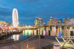 Darling Harbour, Sydney. Beautiful panoramic view of buildings a. Nd skyline Royalty Free Stock Image
