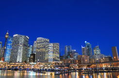 Darling Harbour Sydney night cityscape Australia Stock Images