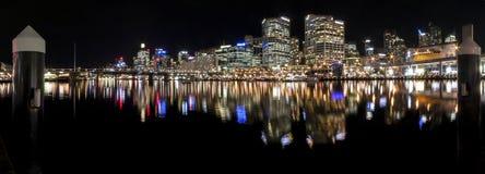 Darling Harbour Sydney Panorama. Panorama night view of Darling Harbour, Sydney Royalty Free Stock Photos
