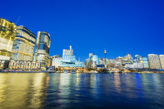 Darling Harbour of Sydney. Skyline in Darling Harbour of Sydney at night Royalty Free Stock Photo