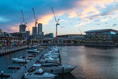 Darling Harbour in Sydney at sunset royalty free stock photo