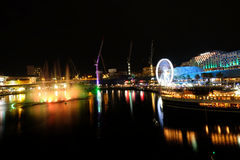 Darling Harbour on Sydney vivid festical Stock Image