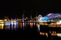 Darling Harbour on Sydney vivid festical Stock Photography