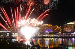 Darling Harbour View 5. Shot taken of Fireworks in Darling Harbour Sydney overlooking sydney city scape during dusk Royalty Free Stock Image