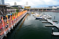 Darling Harbour View. Shot taken on the overhead bridge at Darling Harbour Sydney Royalty Free Stock Images
