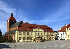 Darlowo, Poland, the town square in early spring 2019 royalty free stock photo