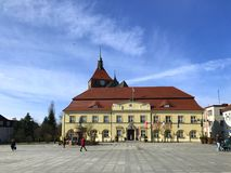 Darlowo, Poland, the town square in early spring 2019 stock photography