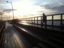 Darlowo wooden pier in spring Stock Photography