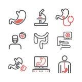 Darmleidenlinie Ikonen Krankenhaus-Abteilung Gesundheitszentrum Vektorzeichen für Netzgraphiken stock abbildung